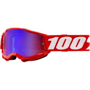 100% Kinder Crossbril Accuri 2 Youth Neon Red Mirror Blue
