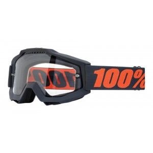 100% Enduro Crossbril Accuri Gunmetal/Clear (dubbel-laags lens)
