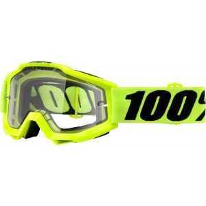 100% Enduro Crossbril Accuri Fluo Yellow/Clear (dubbel-laags lens)