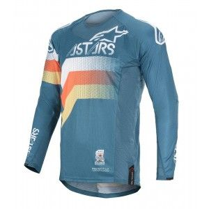 Alpinestars Techstar Venom Crossshirt Petrol/White/Orange Fluo