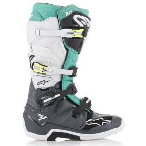 Alpinestars Crosslaarzen Tech 7 Dark Gray/Teal/White
