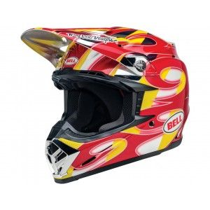 Bell Crosshelm Moto-9 McGrath Replica Gloss Red/Yellow/Chrome