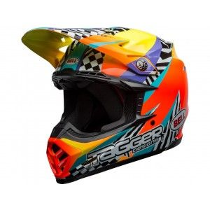 Bell Crosshelm Moto-9 Tagger Breakout Orange/Yellow
