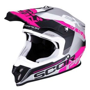 Scorpion Crosshelm VX-16 Arhus Matt Silver/Black/Pink