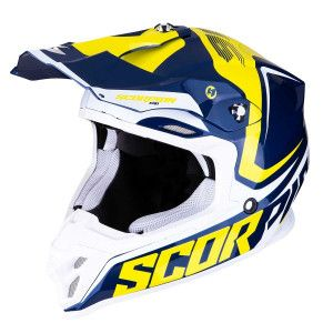 Scorpion Crosshelm VX-16 Ernee Blue/Yellow/White